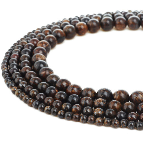 RUBYCA Bronzite Gemstone Round Loose Beads Semi-Precious Stone 4mm 6mm 8mm 10mm