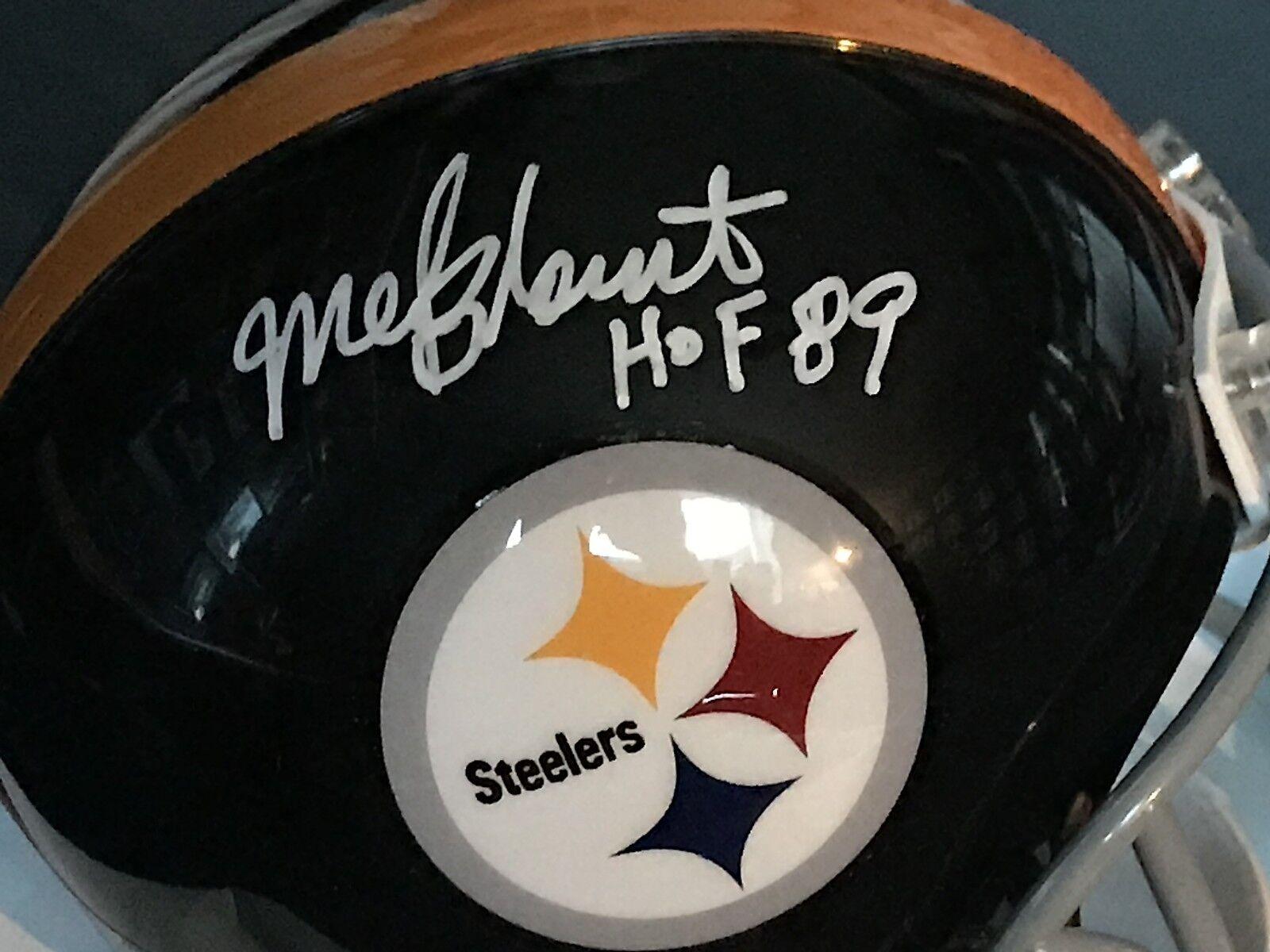 Mel Blount Pittsburgh Steelers Hof 89 Signé Riddell Mini Casque