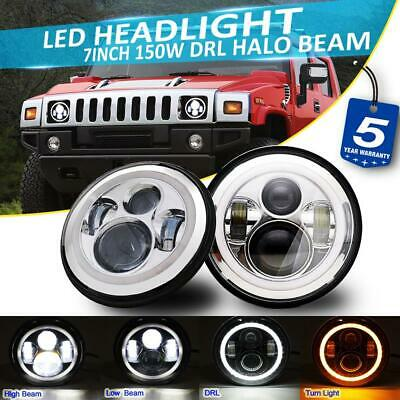 2x 7Inch 150W LED Headlight High//Low DRL Beam Angel Eyes For Hummer H1 H2 H3 SUV