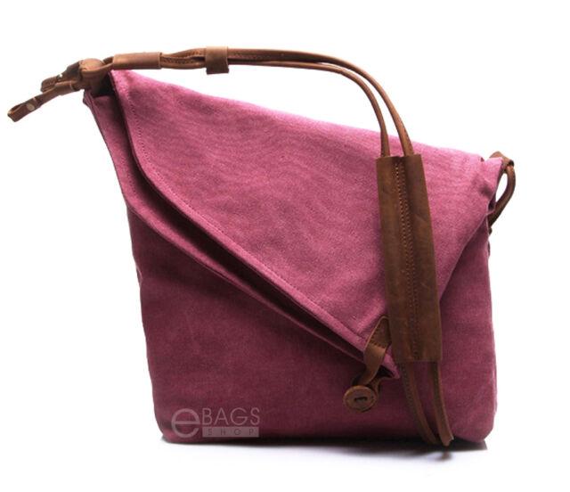 e68e167fc132 Unisex Canvas Casual Cross Body Handbag Purse Tote Messenger Hobo Shoulder  Bag Magenta