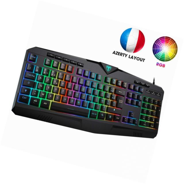 PICTEK Clavier Gamer RGB Filaire AZERTY USB Rétroéclairage LED [Nouvelle Version