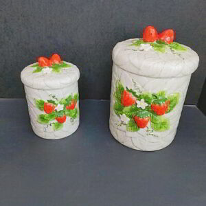 Vintage-1981-Strawberry-Ceramic-Canisters-Sears-Roebuck-and-Co-Lot-of-2