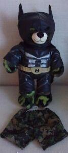 "Build a Bear Stuffed Plush Camouflage Green Bear 16"" Military ~ Batman Outfit"