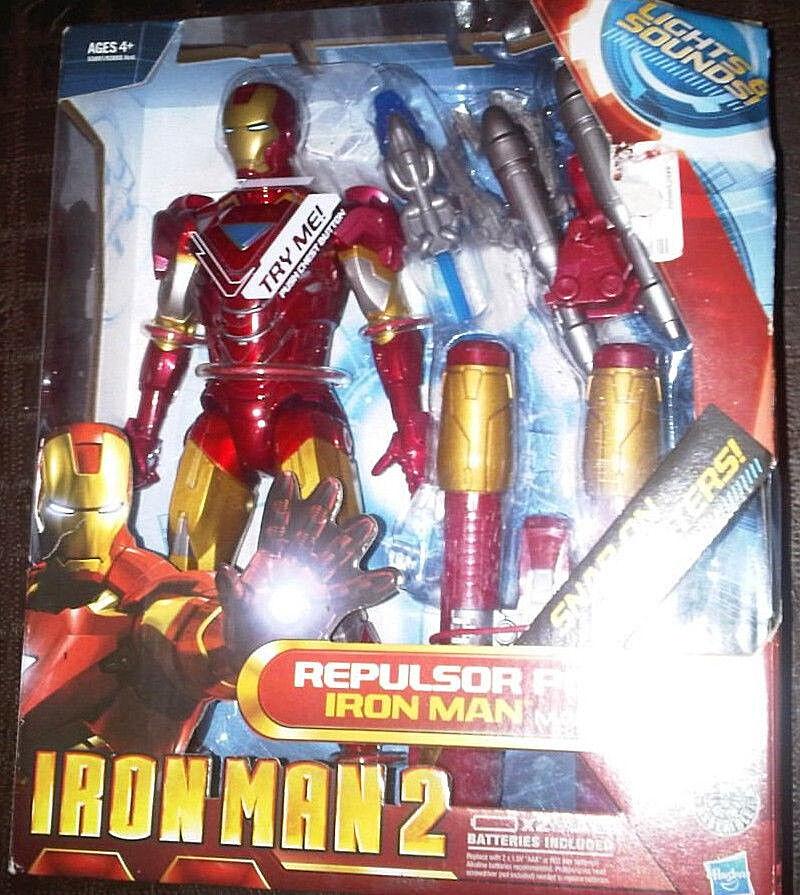 Iron Man 2 __ Repulsor Power Iron Man Mark VI 10  Figura Con Luces Y Sonidos _ Menta en caja