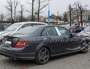 2008-2014-Mercedes-C-Class-W204-6Pc-Chrome-Pillar-Post-Stainless-Steel-Trim
