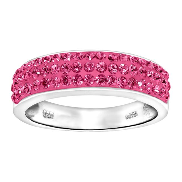 Crystaluxe Band Ring with Pink Swarovski Crystals in Sterling Silver