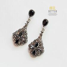Boucles d`Oreilles Clous Argenté Chandelier Lucky Fleur Trefle Noir Gris AA 17