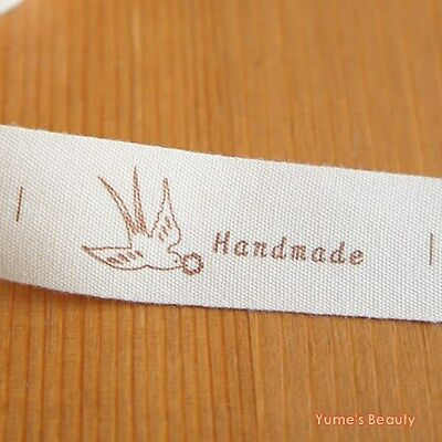 2 Yards OR 10 Yards Cotton Cut and Sew Labels Swallow Bird Handmade Print 20mm