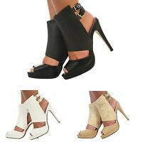 WOMENS LADIES CUT OUT PEEP TOE ANKLE STRAP BUCKLES STILETTO HIGH HEEL SHOES SIZE