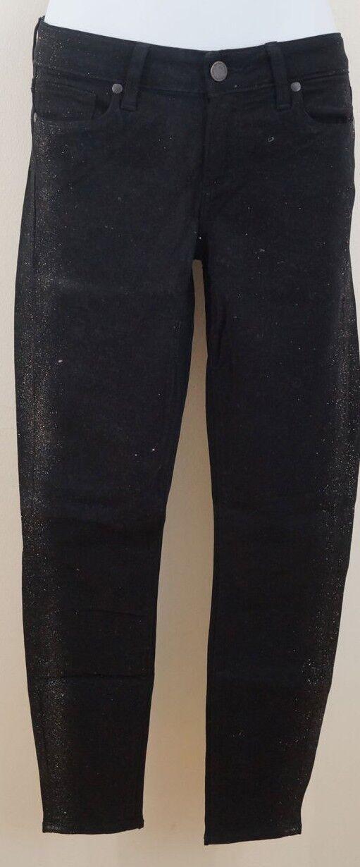 Paige il Verdugo Caviglia nero oro Glitter Skinny Crop jeans pants Sz 26; IL27