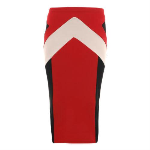 New Ladies Bandage Bodycon Panel Contrast Skirts Womans Tube Pencil Midi Skirt