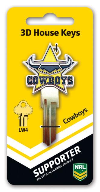 NRL North Queensland Cowboys 3D House Key LW4/C4 Key Blank