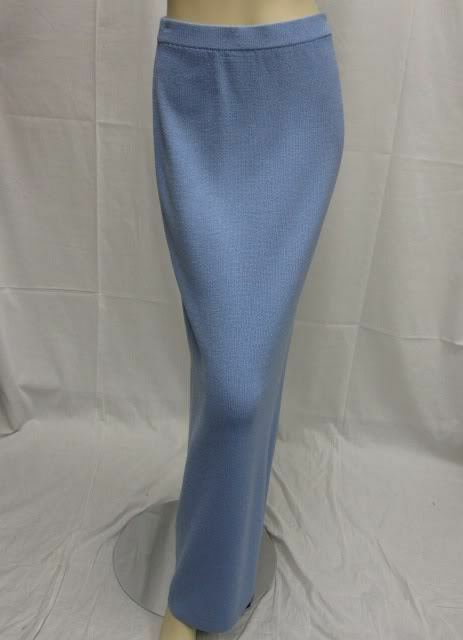 St John EVENING  Sky Light bluee Extra Long Skirt Size 10 12 NWT