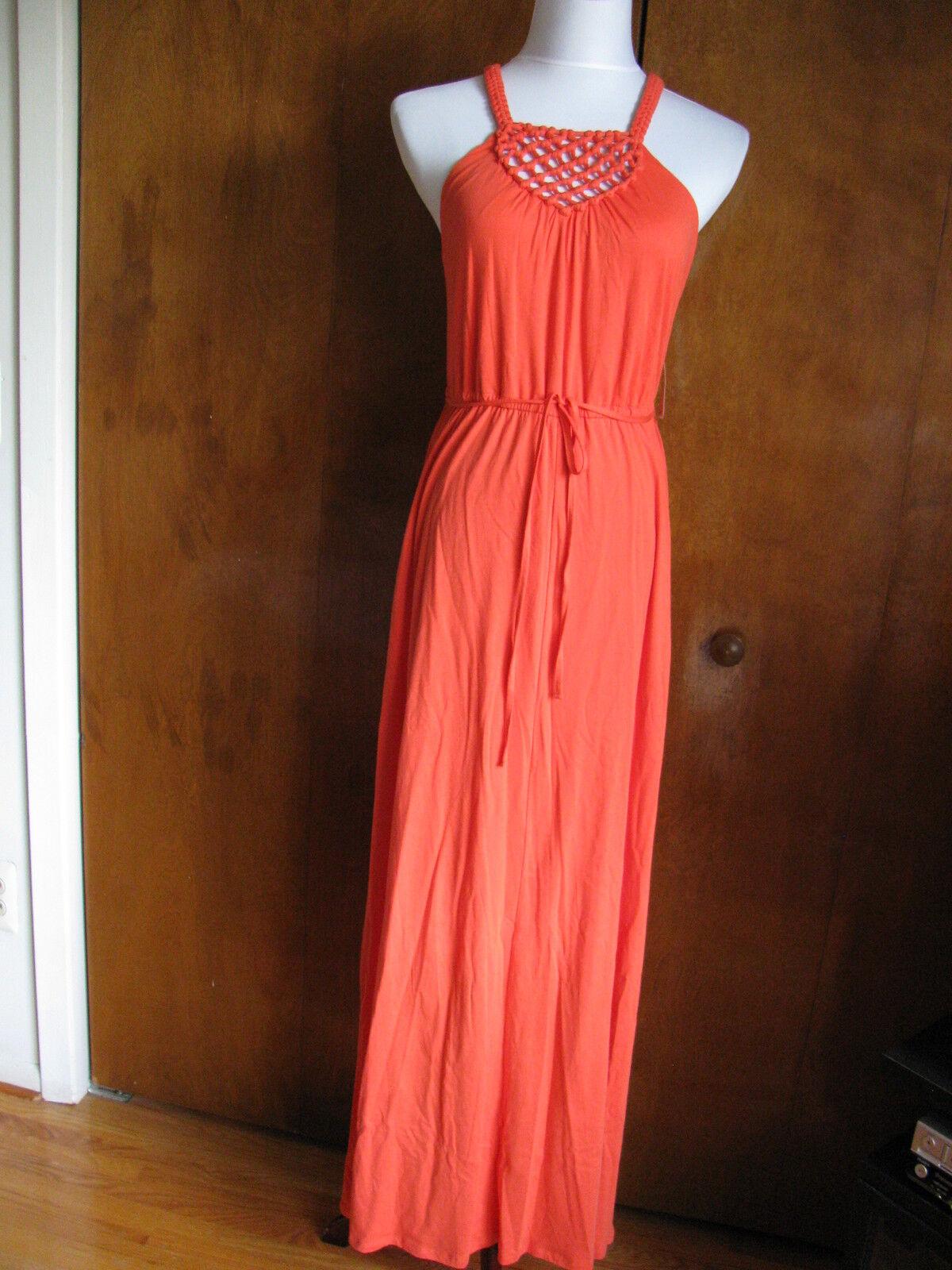 Ralph Lauren Women's orange Detailed Summer Cotton Maxi Long NWT Dress Sz Small
