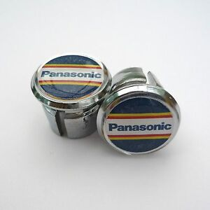 Vintage-Style-Team-Panasonic-Chrome-Racing-Bar-Plugs-Caps-Repro