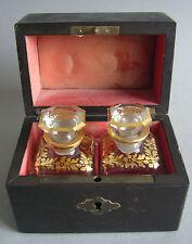 Reise-Schatulle 2 Flakons Parfüm perfume box Napoleon III Frankreich Biedermeier