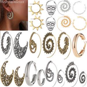 1-Paar-Frauen-Spirale-Tribal-Runde-Ohrring-Hoop-Creolen-Ohrringe-Ohrschmuck-Mode