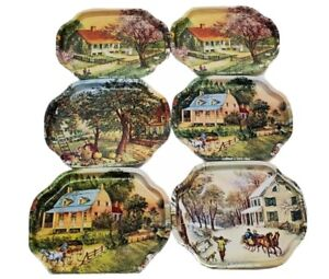 Currier And Ives   American Homestead 1868 Set Of 6 Tin Trays   The Four Seasons