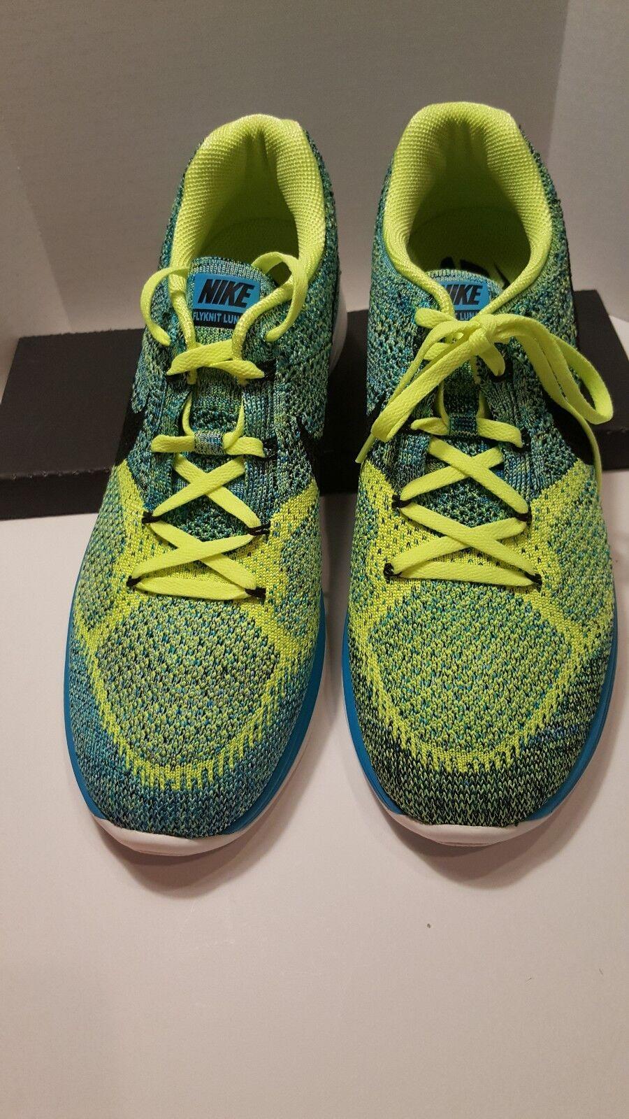 NEW Nike Flyknit Lunar 3 Blue Lagoon Black Volt 698181 403 Mens Shoes  Size 10.5