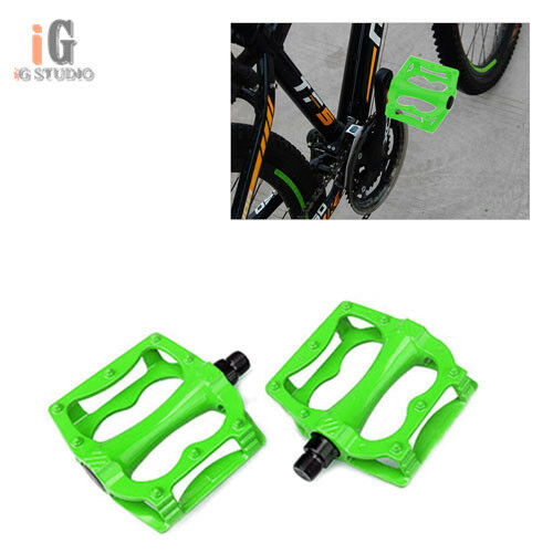 1 Pair Cycling Bicycle Bike MTB Aluminum Alloy Platform Flat Pedals Green