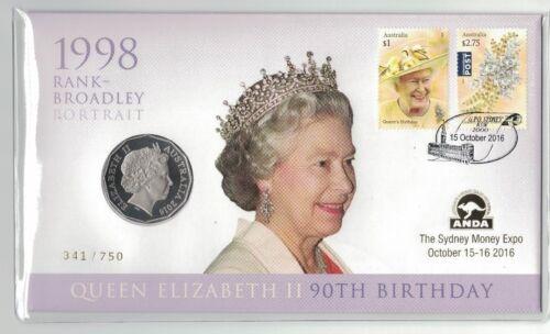 QEII 90th Birthday Rank-Broadley Portrait 50c 2016 ANDA Sydney Limited Ed PNC