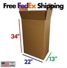 5pk 22x13x34 Strong X Large Double Wall Cardboard Moving Boxes Free Shipping