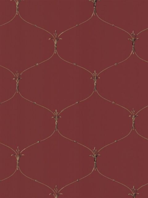 Fleur De Lis Curved Wire on Red Wallpaper EC1180
