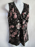 Julie's Closet Black & Pink Floral V Neck Blouse Bling Size L