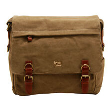 Troop London - Brown Classic Laptop Messenger Bag in Canvas with Leather Trim