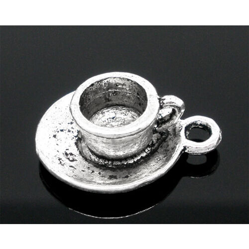 223 8 Cup Saucer Coffee Tea Drink Antique Silver Charms Pendants 15mm x 19mm