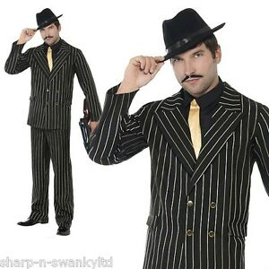 Adult Mens Gold Pinstripe 1920s Gangster Bugsy Malone Fancy Dress ...