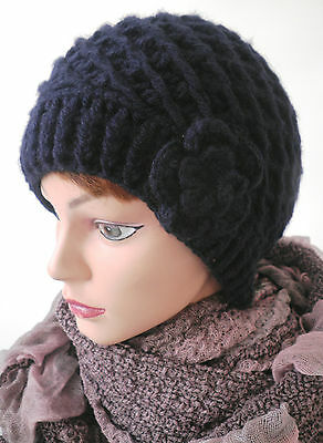 Damenmütze Strickmütze Pudelmütze mit Blume Wintermützen Damenmützen Wintermütze