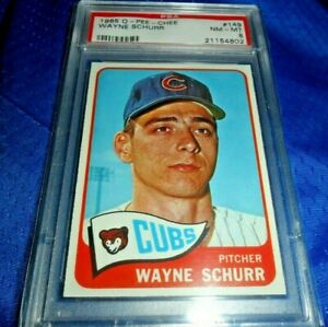 1965-WAYNE-SCHURR-OPC-Topps-149-O-PEE-CHEE-CHICAGO-CUBS-NM-MINT-PSA-8-Centered