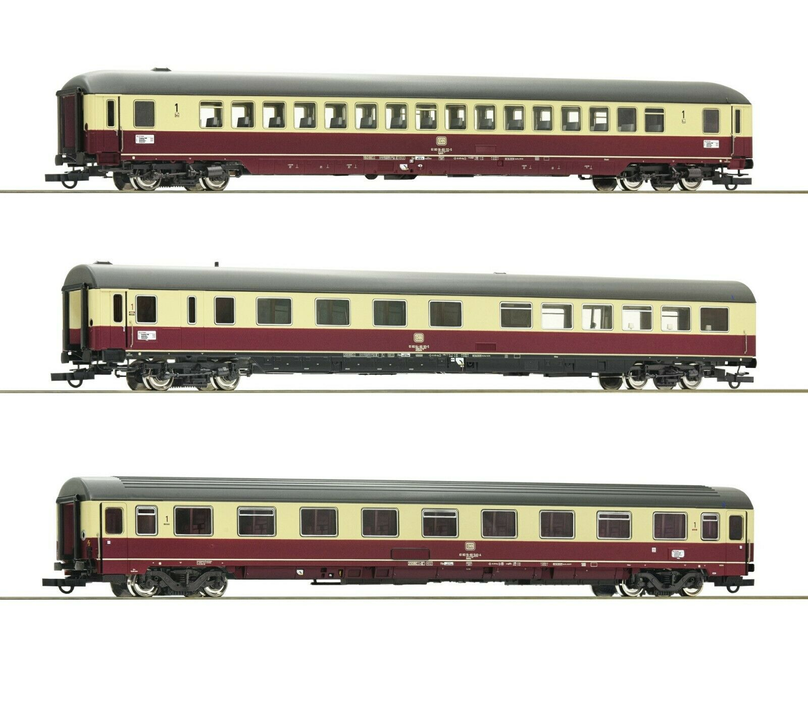 Roco HO scale Set of 3 Passenger cars of TEE 26 27 Erasmus (Set 2)  DB