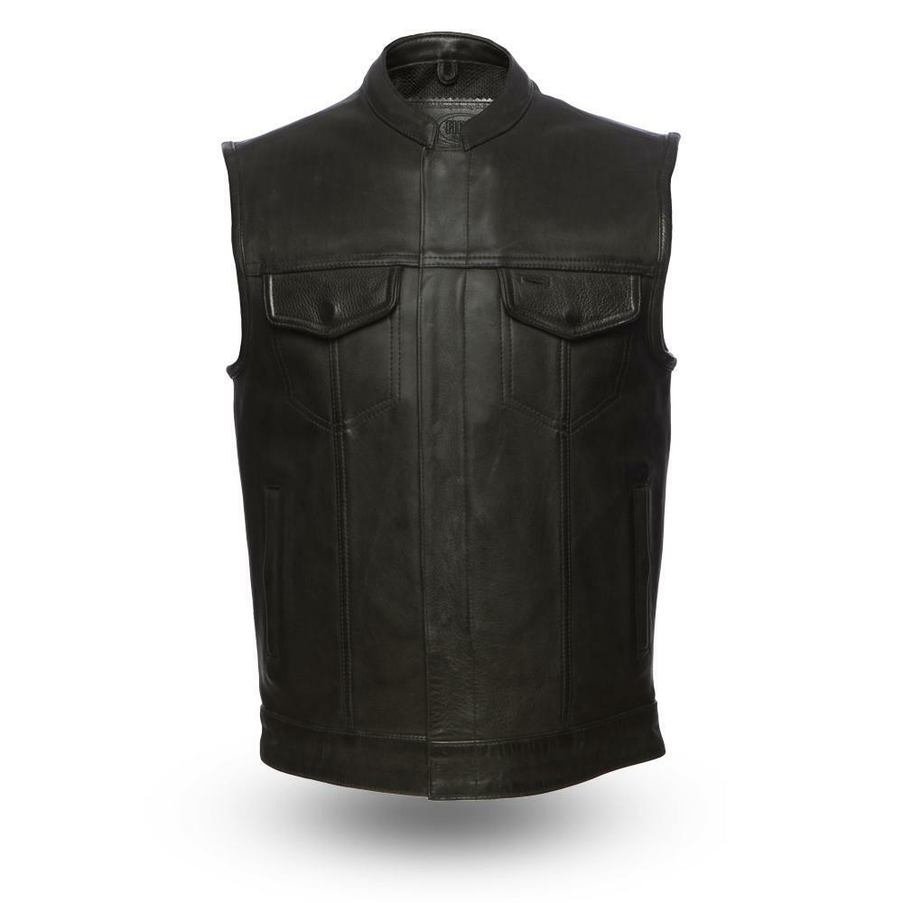 First Manufacturing Mens Leather Vest FIM686CPM   Hotshot