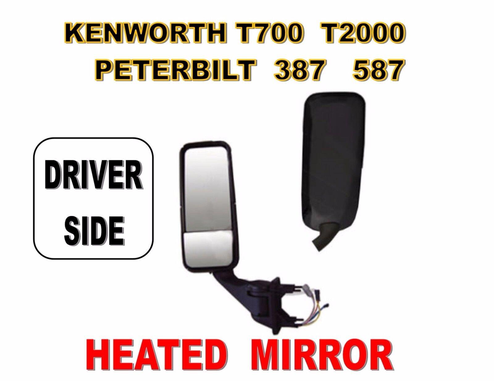 T700 Black Mirror Cover 587 /& Kenworth T2000 Peterbilt 387 Driver