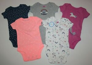Baby Girl Lot of 3 Bodysuits Carters JOY NWT Unicorns NB 3 9 12 18 24 Cotton