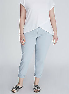 26d8abd4e8ece Lane Bryant Womens Boyfriend Chino Pants size 14 Light Blue Low Rise ...