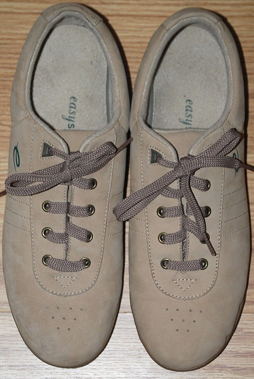 EASY SPIRIT Fitness BEIGE light tan leather flats sneakers walking shoes 11 NICE