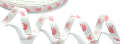 0,99Euro//Meter weißes Geschenkband mit Babyfüße Hellblau//Rosa Jungs//Mädchen 1cm