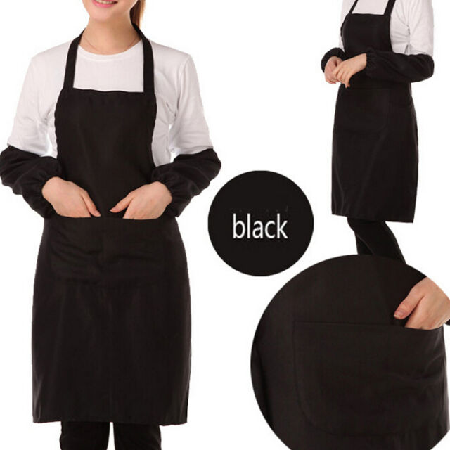 BlACK Women Solid Cooking Kitchen Restaurant Bib Apron Dress with Pocket Gift ia