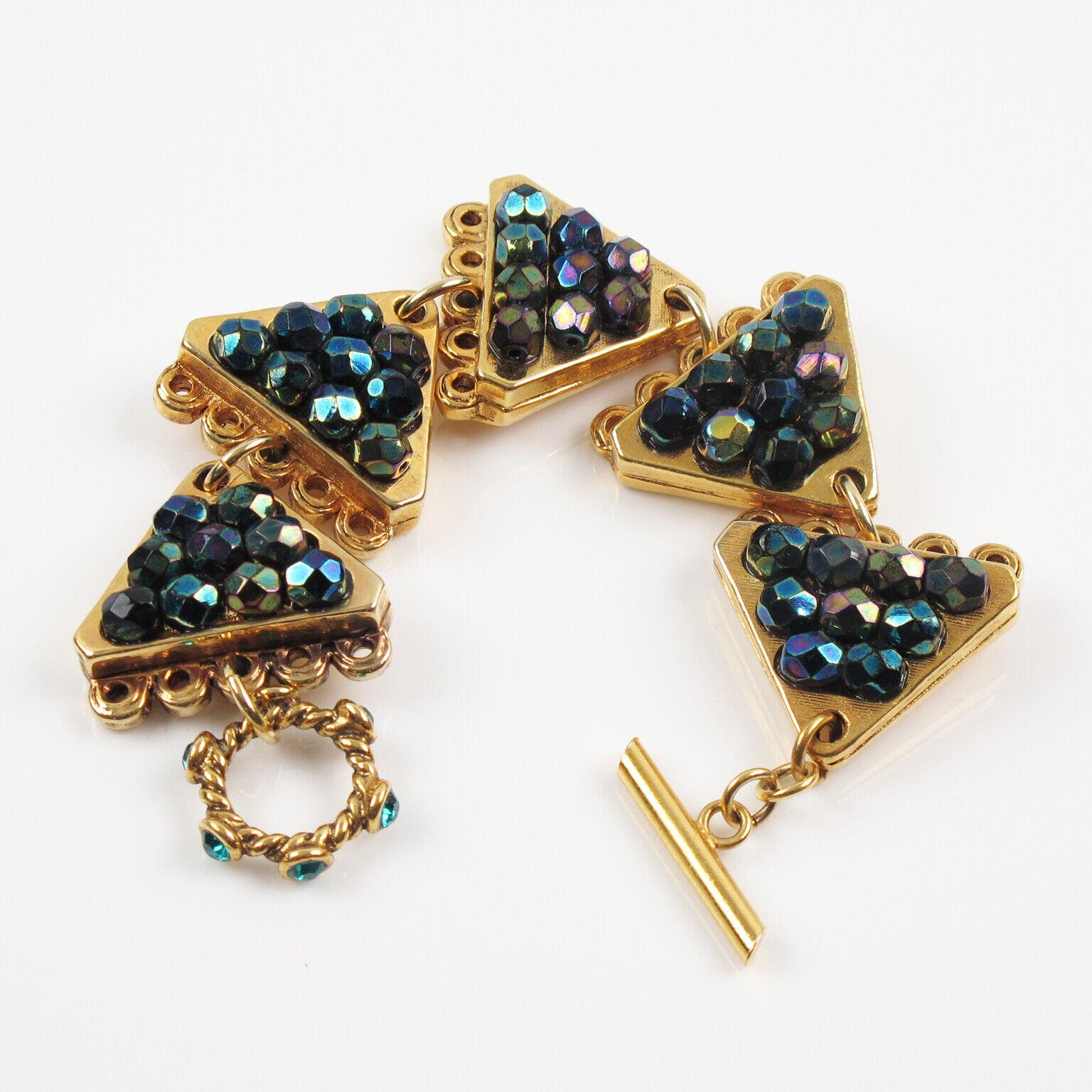 Vintage Claire Deve Paris Signed Link Bracelet Cr… - image 2