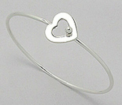 Jewelry & Watches Fine Jewelry Beautiful 7g Solid Sterling Silver 15mm Thick Heart Clasp Bangle Bracelet