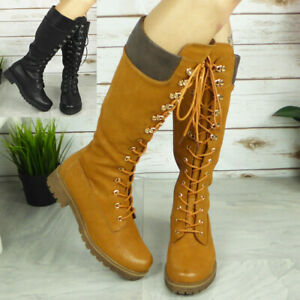 Womens Mid Calf Boots Ladies Lace Up