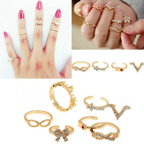 Hot 7PCS/Set Urban Gold Stack Crystal Cute Above Knuckle Ring Band Midi Rings