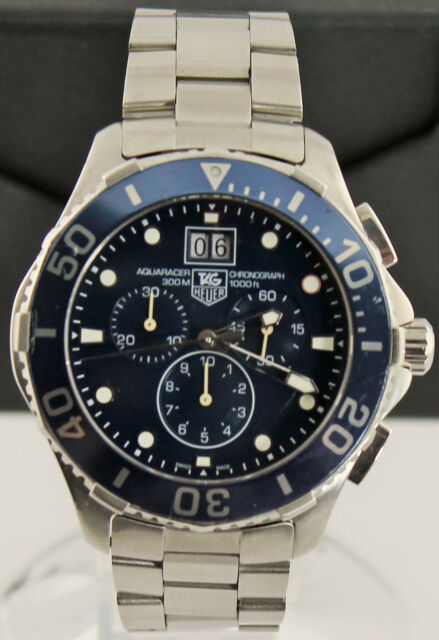 e7d242b124f Tag Heuer Aquaracer CAN1011.BA0821 Mens Blue Swiss Quartz Chronograph Date  Watch