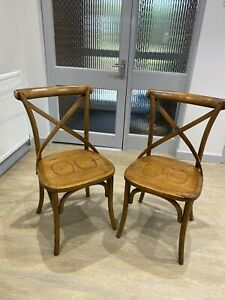 Pair-Bentwood-Chairs-Artisan-Wood-Wooden-Antique-Style
