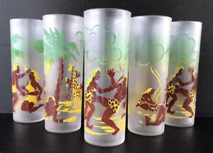 Vintage-Highball-Glasses-Tiki-Tropical-Island-Native-Federal-Glass-Tumblers
