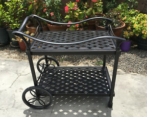 Outdoor-Tea-Cart-Patio-Furniture-Cast-Aluminum-Bronze