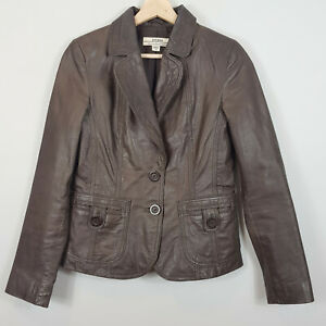 JUST JEANS | Womens Brown Leather  Jacket [ Size AU 10 or US 6 ]